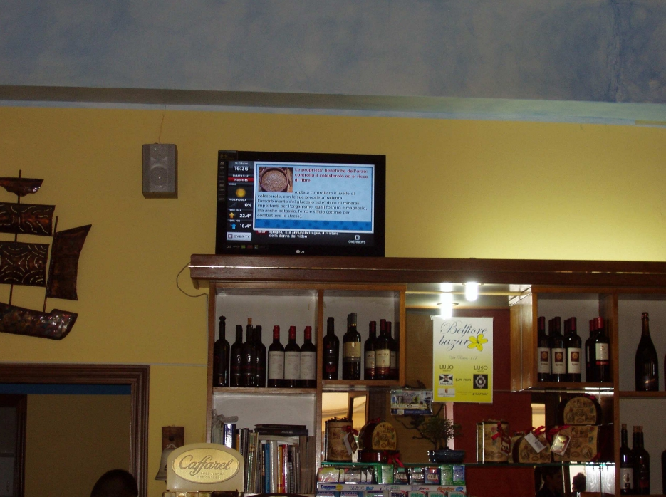 Italia: Digital Signage in un bar di Sassari