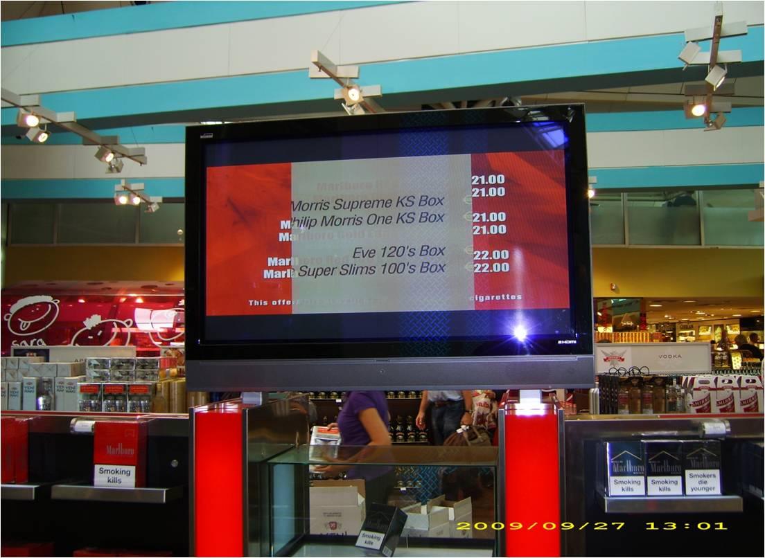 Turchia: Digital Signage per promuovere le sigarette al duty free dell'aeroporto Ataturk di Istanbul