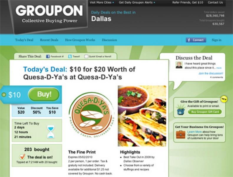 Groupon trova finanziatori e si allarga