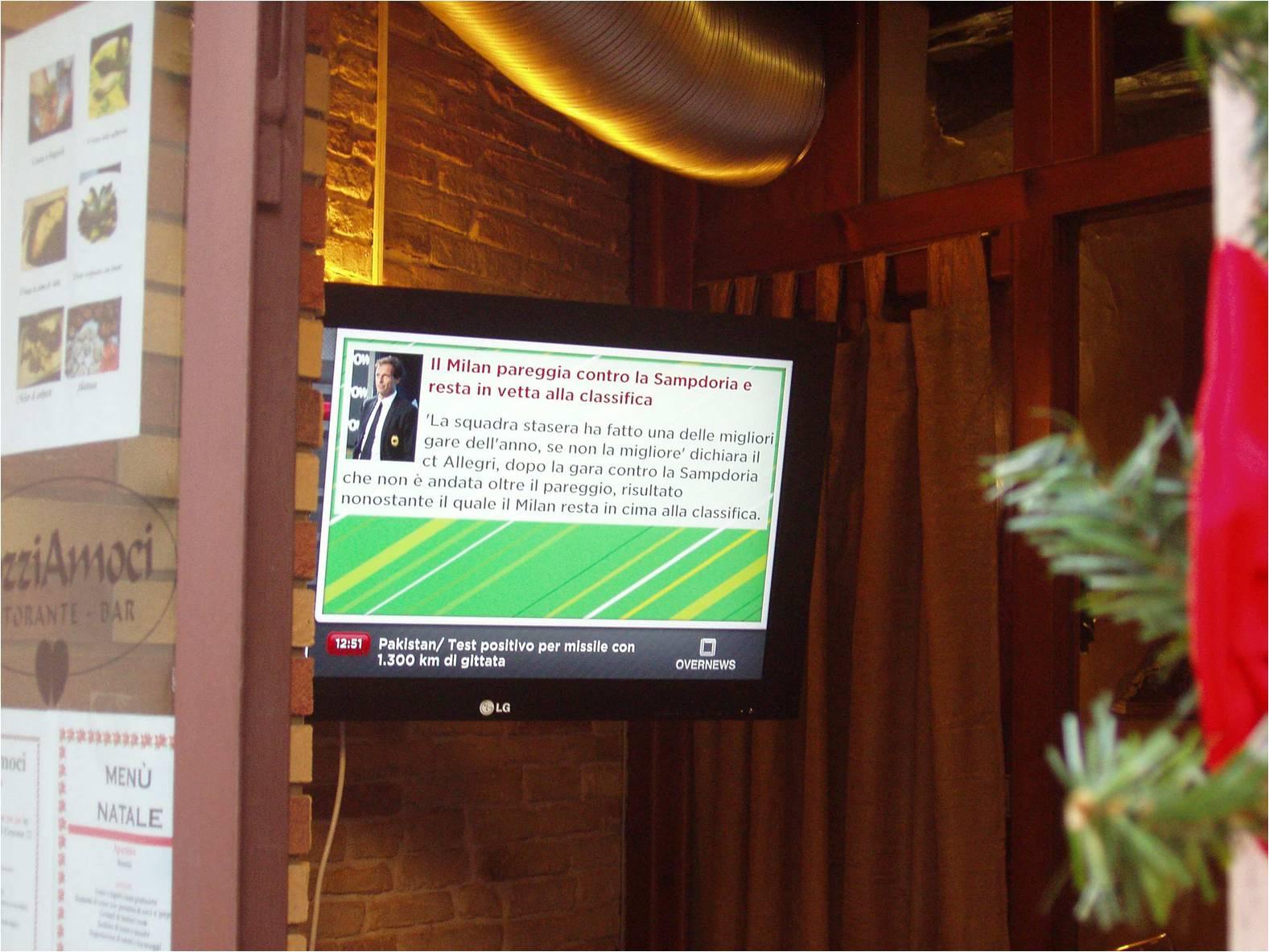 Cagliari: ristorante con display OverTv