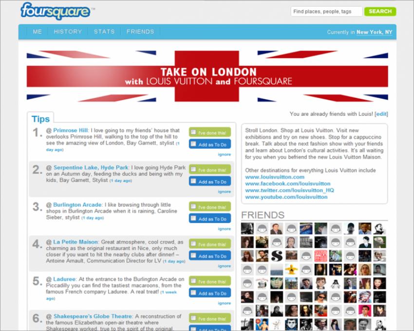 Campagna Foursquare per Louis Vuitton a Londra