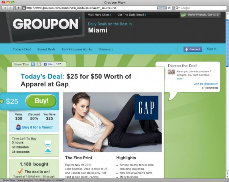Groupon & Gap: l'accordo da 17 milioni di dollari