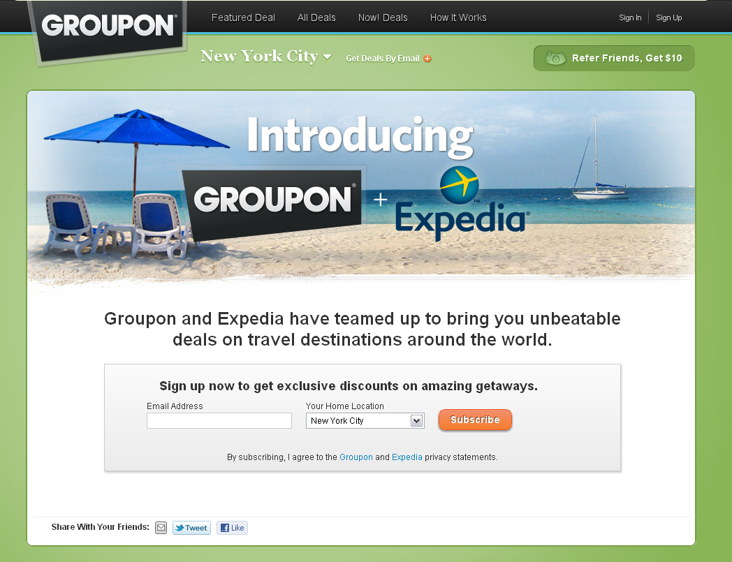 Expedia e Groupon per le vacanze