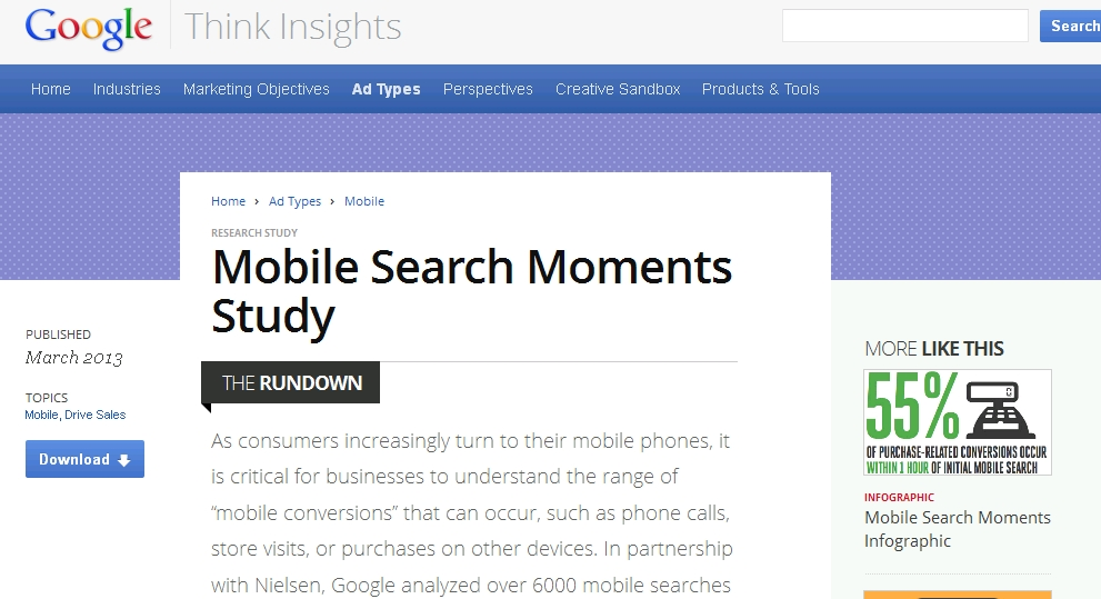 Mobile Search Moments Study, Google svela i segreti del Mobile